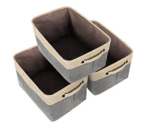 Foldable Storage Basket Set of 3 Canvas Organizer With Handles