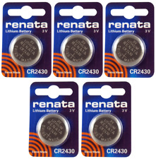 5 Pack CR2430 Renata Watch Battery, 3V Lithium Coin Cell SHIPS FREE w/TRACKING