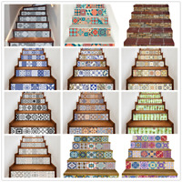 6pcs/set 3D Stairs Tile Risers Mural Vinyl Decal Staircase Sticker Decor Decals
