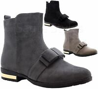 Ladies Womens Flats Block Heels Suede Chelsea Bow Zip Up Casual Boots Shoes Size