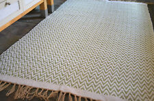 GREEN CREAM CHEVRON Handmade Cotton Jute Reversible Washable KILIM RUG Chevrons