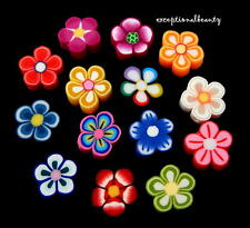 100 Fimo Polymer Clay Assorted Bright & Pastel Lot Floral Flower 8-10mm Beads