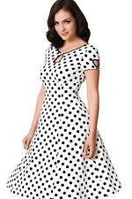 Petticoat Damen Abendkleid Polka dots Sommerkleid  weiß schwarz Pünktchen