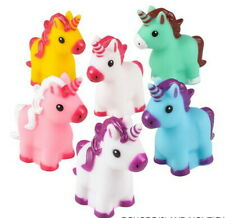 6 Rubber Unicorn Squirting Bath, Beach, Pool Fun Toy Party Prize Goody Bag Item