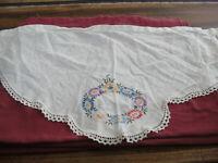 "Vintage 16"" x 31"" Triangular Embroidery Fabric Doily Dresser Scarf Crochet Edges"
