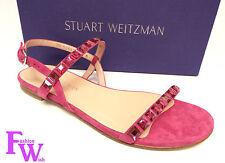 New STUART WEITZMAN Size 8.5 TRAILMIX Hot Pink Sandals w/ Gems Shoes 8 1/2