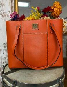 Dooney & Bourke Pumpkin Orange Saffiano Small Lexington Shopper New Purse