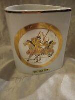 VINTAGE THE ART OF CHOKIN HORSES SMALL VASE HOLDER 24KT GOLD TRIM EDGED JAPAN