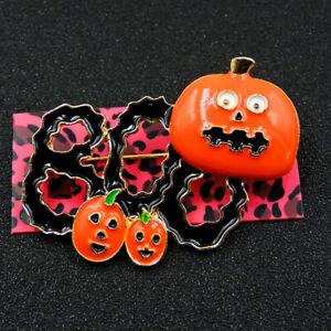 Betsey Johnson Lovely Orange Enamel Pumpkin Leaf Charm Woman Brooch Pin