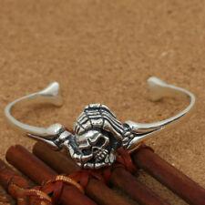 Real Solid 925 Sterling Silver Cuff Bracelet Skull Skeleton Hands