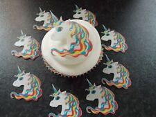 12 PRECUT Edible Unicorn Heads wafer/rice paper cake/cupcake toppers
