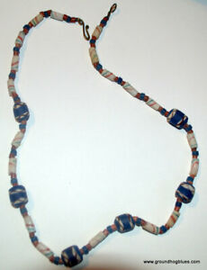 """Clay ARt to Wear Trade Bead Necklace 23"""""""