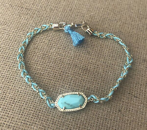 Kendra Scott Elaina Braided Light Blue Magnesite Bracelet in Gold