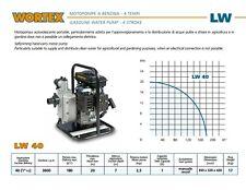 Motopompa autoadescante a benzina 4 tempi portatile acque chiare LW 40 Wortex