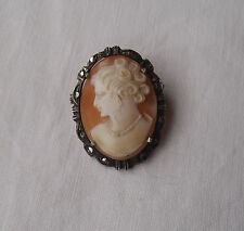 Beautiful Vintage Silver Carved Shell Cameo Brooch Pendant with Marcasite Stones