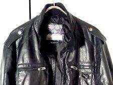 Whispering Smith Faux Black Leather Cafe Jacket Sz 3XL