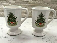 PFALTZGRAFF CHRISTMAS HERITAGE PEDESTAL COFFEE MUGS FOOTED (Set of 2)