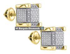 diamond .05 carats cube stud screwback earrings 925 yellow unisex men 7x7