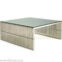 Stainless Steel Ribbed Beam Slotted Tubular Slat Grid Coffee Table Glass Top