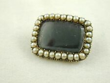 GEORGIAN SEED PEARL MOURNING BROOCH 9CT GOLD DATED MARCH 1ST 1914 3.6 GRAMS