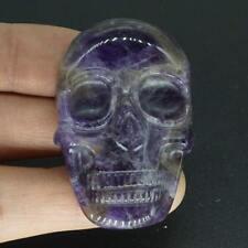 "1.89"" Natural Amethyst Stone Carved Skull Cab Pendant cabochon Skeleton"