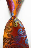 New Classic Paisley Gold Yellow Blue JACQUARD WOVEN 100% Silk Men's Tie Necktie