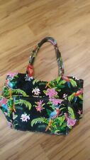 Vtge CAPPELLI Canvas Duffle Beach Tote Nicole Rubel Parrot Floral Tropical