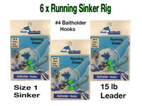 6 Running Sinker Whiting Fishing Rigs - #4 Baitholder Hook Size 1 Sinker 15lb