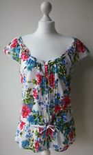 HOLLISTER BLOUSE TOP summer floral button drawstring waist cap sleeve L UK10/12