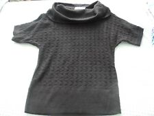 NEW Woman's  Large Black Short Sleeve Open Weave  Sweater w Large Cowl Neckline