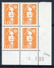 TIMBRE DE  FRANCE NEUF COIN DATE N° 2620 ** EN BLOC DE 4 /////  16/03/1990