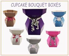 10 X Cupcake Bouquet Boxes Sweets Chocolate Living Vases Flowers Gift Box