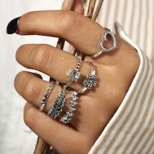 6Pcs/set Vintage Heart Flower Crystal Ring Set Above Knuckle Stacking Midi Rings