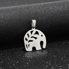 5pcs Silver Tone Stainless Steel Hollow Elephant Pendent Jewelry Making Finding