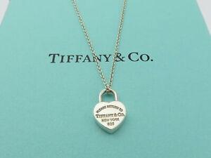 TIFFANY & CO Sterling Silver Return to Tiffany Mini Heart Lock Pendant Necklace