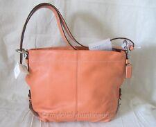 NWT Auth Coach Leather 24CM Duffle Shoulder Crossbody Bag Hobo Tangerine F15064