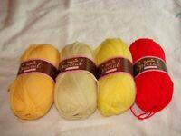 4 Skein Lot Stylecraft Special DK Yarn Saffron Buttermilk Matador Citron (#12)