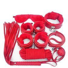 7-pcs-Red-Bondage-Set-Handcuffs-Collar-Whip-Blindfold-Retraints-Adult-Sex-Toys