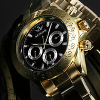 Mens Watch Mechanical Gold Stainless Steel Case 6 Hands Analog Display Luxury