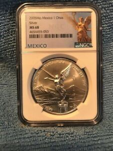 2005 LIBERTAD Mo Mexico Silver 1 Oz NGC MS68 pop 25 only 19 graded higher