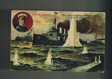 1916 German Navy U Boat Submarine U 9 Feldpost Postcard Cover Attacking Ships