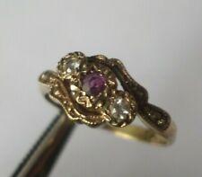 Vintage Hallmarked 1982 sterling silver gilt ruby & glass ring UK size R