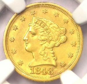 1848-D Liberty Gold Quarter Eagle $2.50 - NGC Uncirculated MS Detail - Dahlonega
