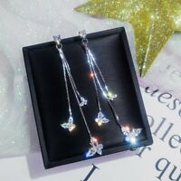 Fashion Long Tassel Crystal Earrings Women Butterfly Drop Dangle Ear Stud NEW