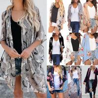 Women Loose Chiffon Shawl Kimono Cardigan Tops Beach Cover Up Blouse Beachwear
