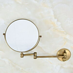 """Hotel Antique Brass 8"""" Wall Mounted Swing Arm 2-Sided Magnifying Mirror sba635"""