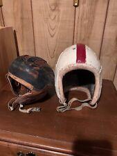Antique Late 1930's Leather Football Helmets Vintage