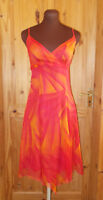 PRINCIPLES hot pink coral orange SILK chiffon asymmetric strappy dress 8 36
