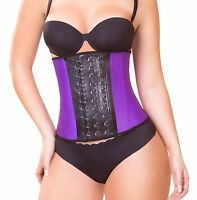Real Curvy Women Fajas Colombianas Purple Latex Sport Waist Trainer Shapewear