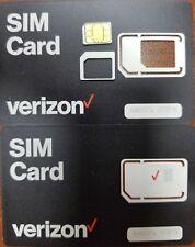 New Verizon Nano, Micro, standard Sim Card 4G Lte • New Genuine Oem • 3 In 1